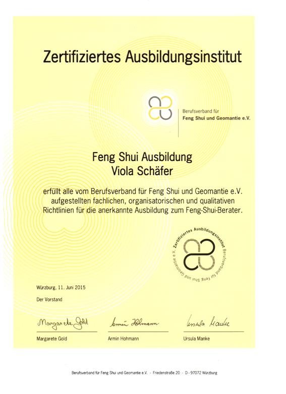 Feng Shui Berater Ausbildung